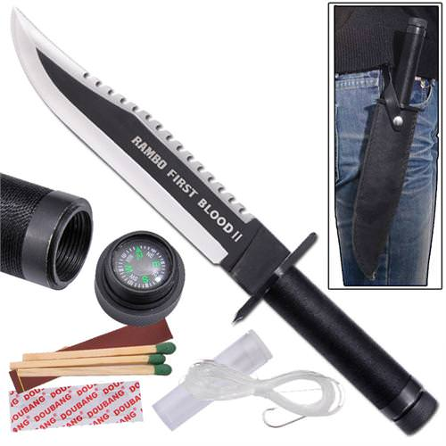 Rambo First Blood Part II John Rambo Survival Knife 14""
