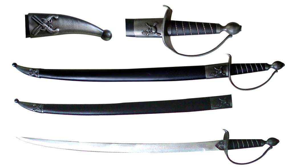 Black Handled PIRATE SWORD with Scabbard 30""