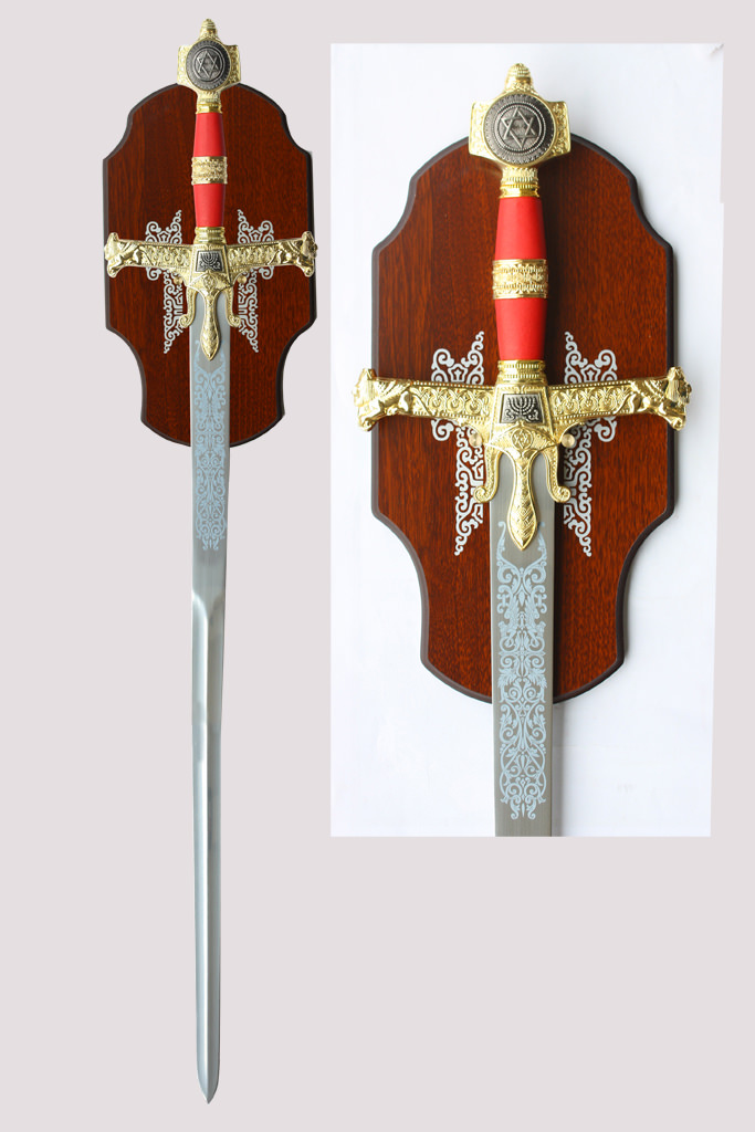 King Solomons Medieval Sword with Red Handle & Plaque 51""