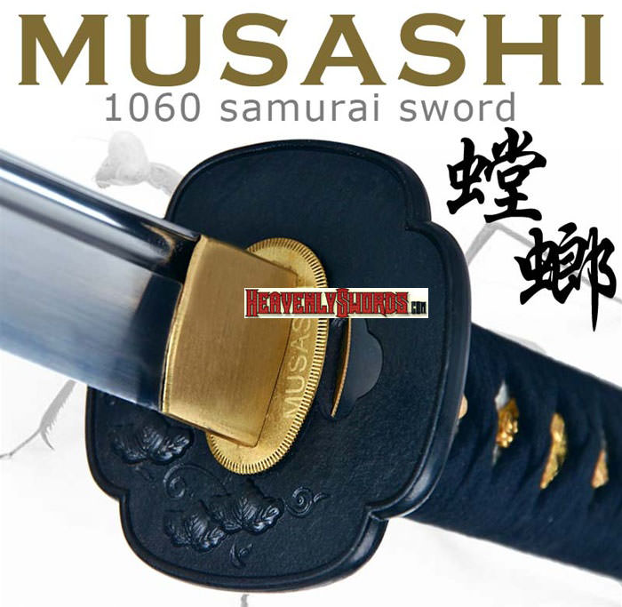 Handmade Musashi 1060 Battle Ready Katana Samurai Sword Mantis Black 39 1/2""