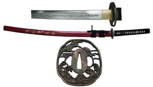 Musashi Mother of Pearl Samurai Sword-Bamboo - SS752RD