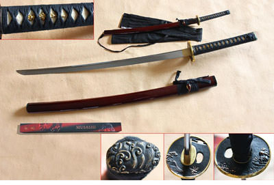 Hand forged Dark Red Musashi Katana 40 1/2""