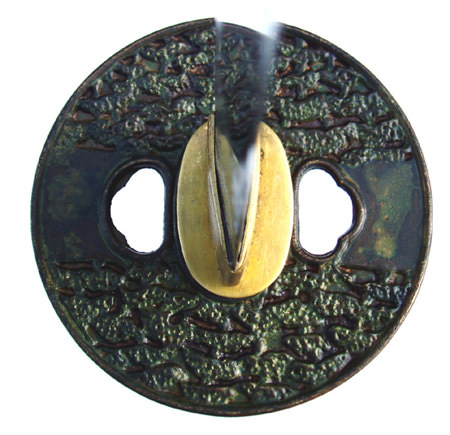 Oxidized Copper Daigoro Tsuba Samurai Sword Guard