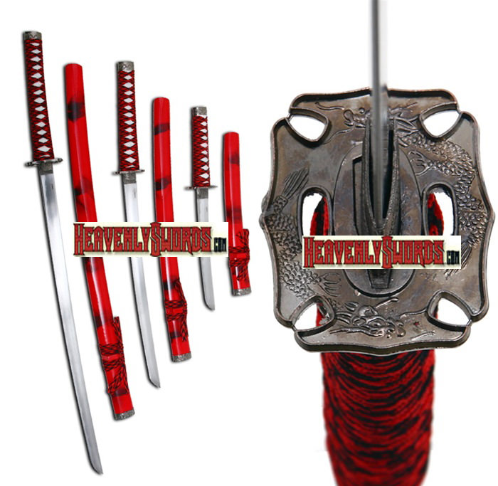 Classic Red Smoke Japanese Samurai Katana 3 Sword Set &amp; Stand