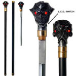 Two Face Black Joker Cane Sword With Lighting Eyes 37&quot;