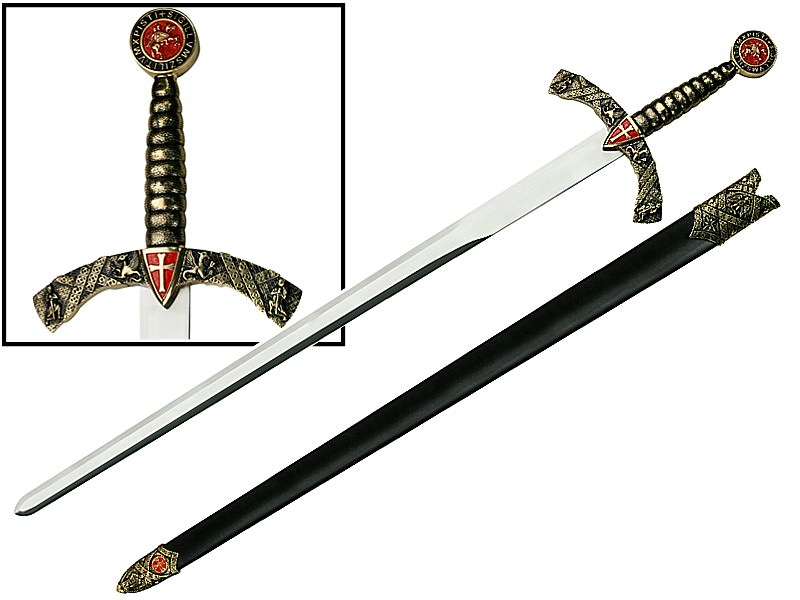 Medieval Knights Templar Sword & Sheath 41""