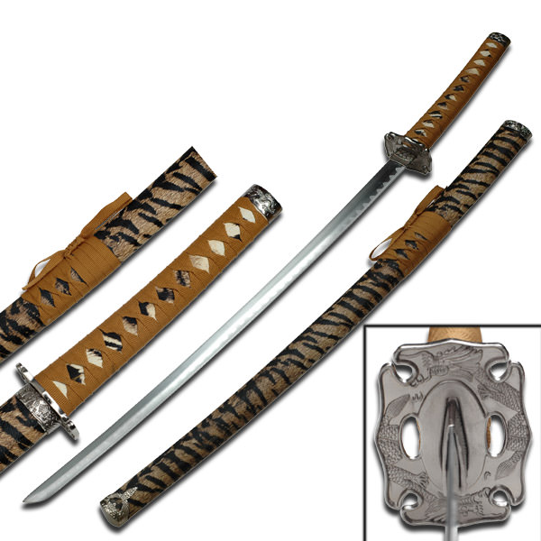 Samurai Sword With Cheetah Polyurethane Wrapped Scabbard 39 1/2