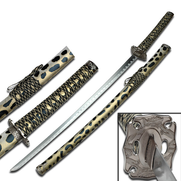 Samurai Sword With Leopard Polyurethane Wrapped Scabbard