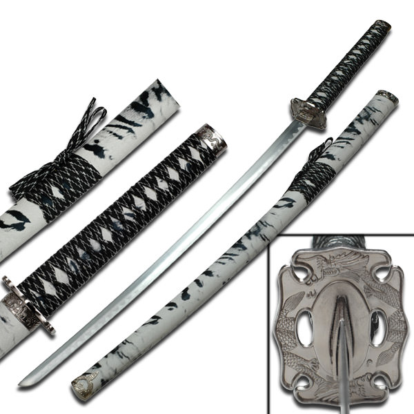 Samurai Sword With Zebra Polyurethane Wrapped Scabbard