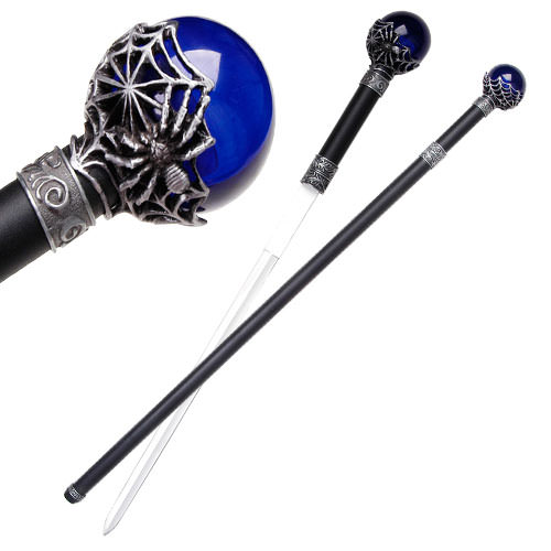 Spider Cane Sword w/Blue ball 34""