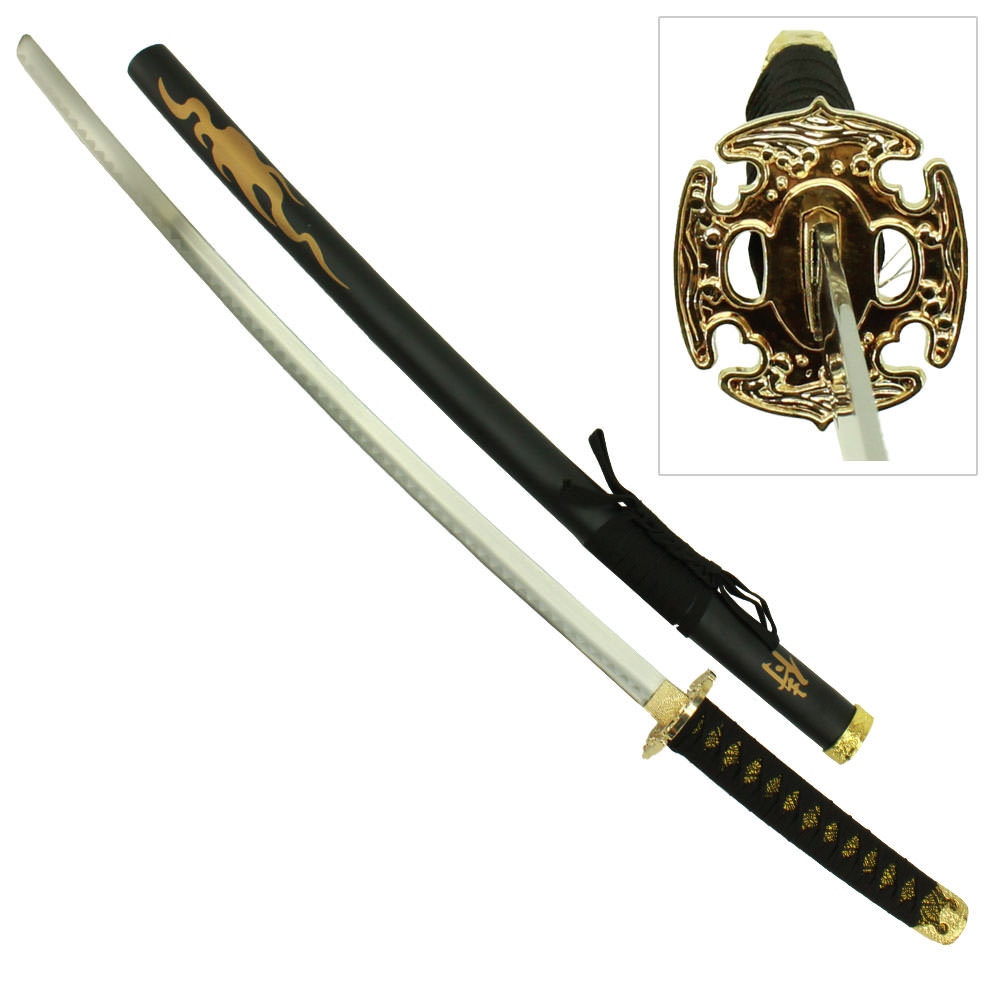 Samurai Black Cord Katana With Gold Guard