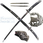Silver Spiral Dragon Katana 42&quot;