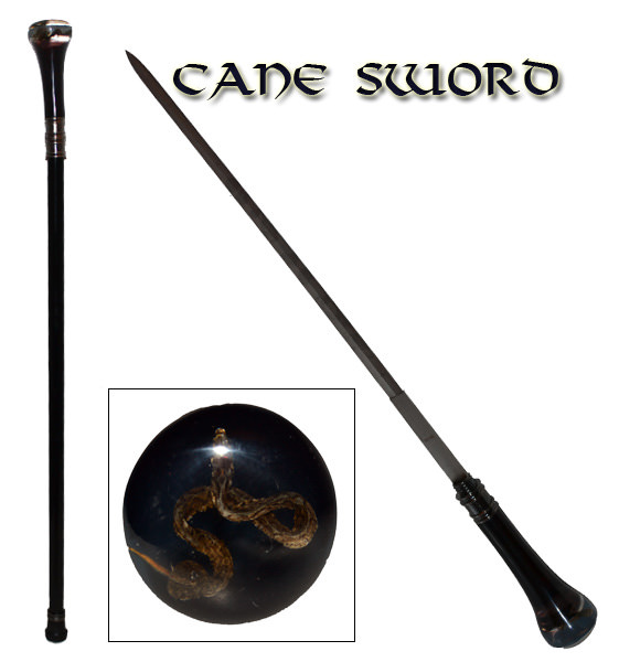 Snake Clear lexan Executive Sword Cane SW-09SN