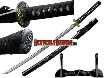 Ten Ryu Winter Bamboo Katana & Stand 38 3/4""