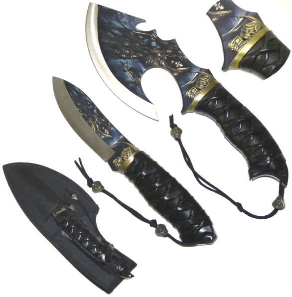 "Grim Reaper 2 piece Collector Knife & Axe Set 9 1/2"" & 11 1/2"""