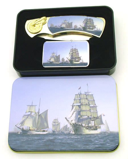 Tall Ships Pocket Knife & Lighter Set PK2023Ship1