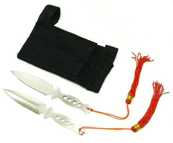 Throwing Knife Set 2 Stainless & Wrist Sheath 90-15