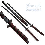Wooden Double Samurai Sword Set
