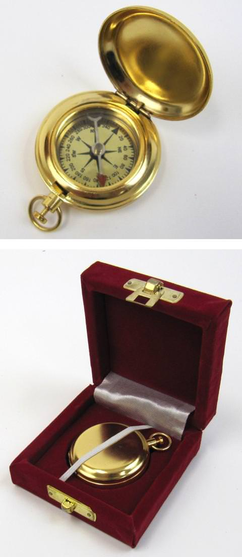Gold Plated Dalvey Style Compass w/ Gift Box