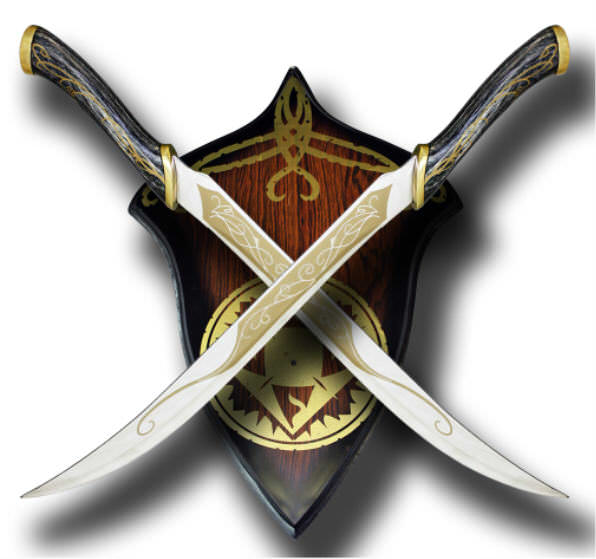 Twin Fantasy Sword & Plaque with Emblem