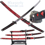 Marble Red Samurai Sword Set