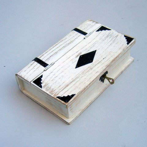 Book Shaped Box, White, Lock & Key