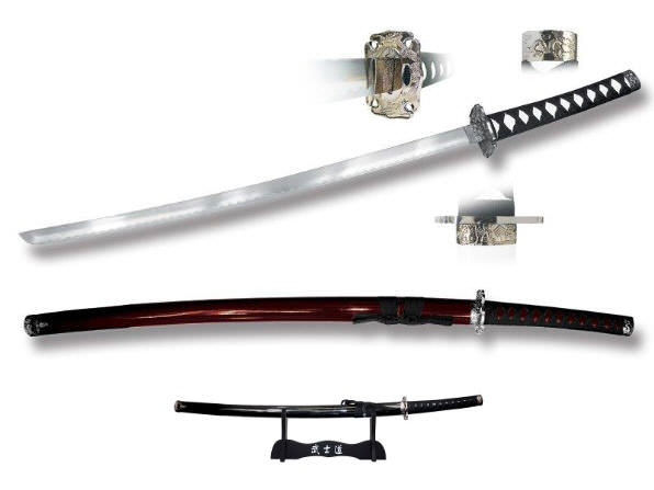 40in Dark Brown Katana & Stand