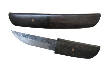 """Padauk Forged Tanto Knife with wood Scabbard 8 7/8"""""""