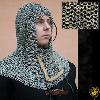 Chain Mail Coif with Bottom Ventail - Dome Riveted - Aluminum