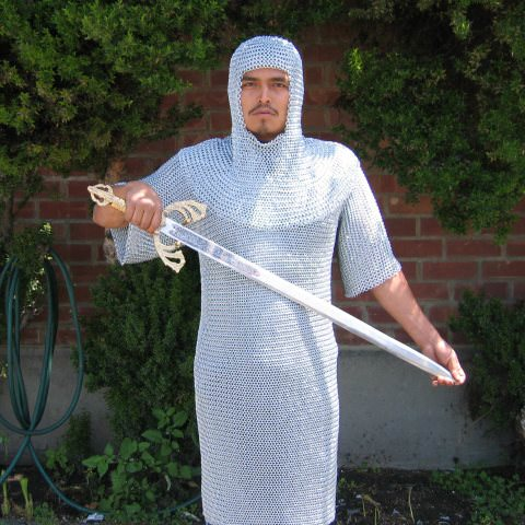Full Length Chainmail with Hood Coif