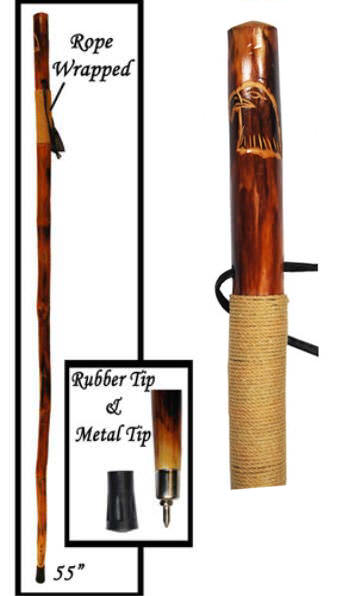 55in Cord Wrapped EAGLE Hardwood Walking Stick WS626-55RE