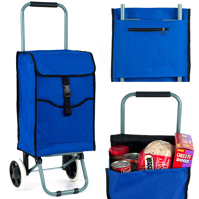 Eco-Friendly Portable Canvas Shopping Cart - 3 Compartments