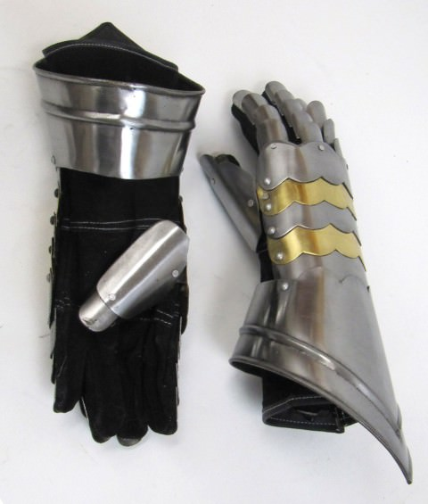 Pair of Medieval Gauntlet Brass Accents