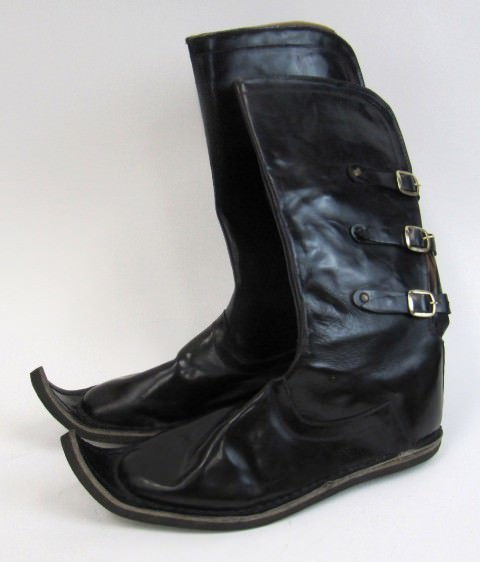 Leather Medieval Shoes, Extended Curled Toes Size 9