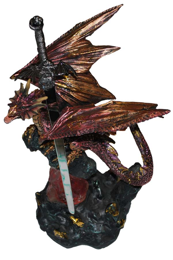 Red Glowing LED Dragon Letter Opener 10""