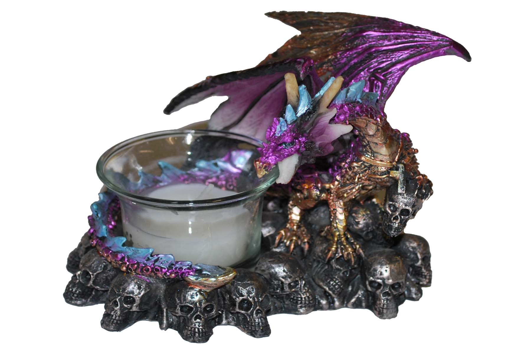 Purple Dragon on a Mountain of Skulls Candle Holder