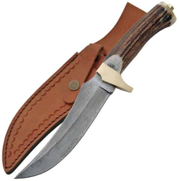 Real DAMASCUS Steel Stag Hunting Knife DM1015