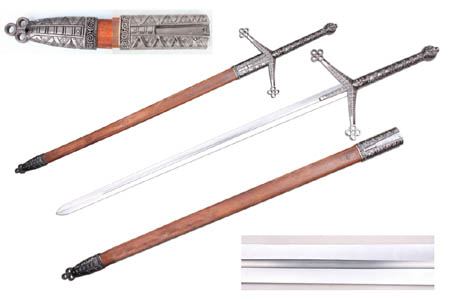 Scottish Claymore Sword With Hardwood Scabbard Braveheart