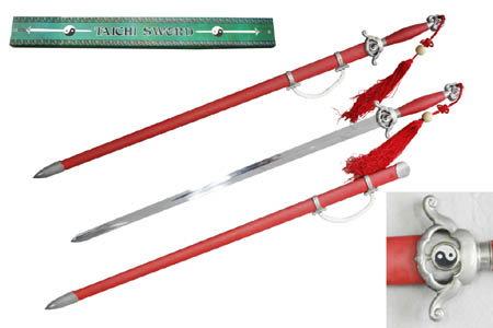 Red Chinese Tai Ch Sword with Scabbard 41""
